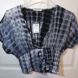 Black and Grey Tie Dye Corset V-Neck Top